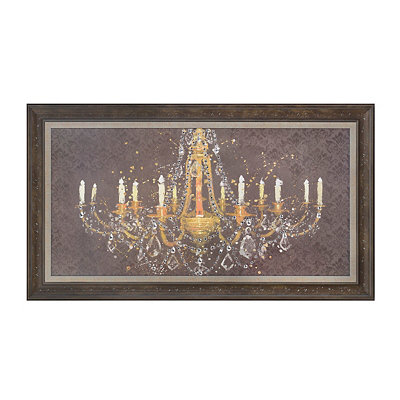Jeweled Gold Chandelier Framed Art Print