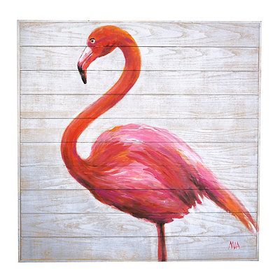 Pink Flamingo Wood Plank Plaque