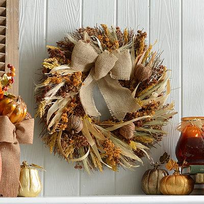 Dried Rattan Wildflower Wreath