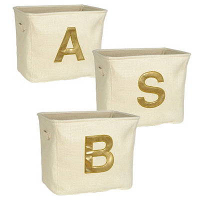 Ivory and Gold Monogram Storage Bins
