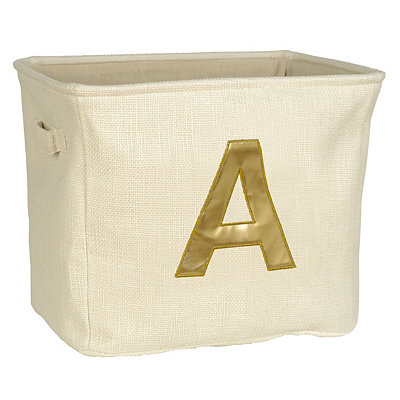 Ivory and Gold Monogram A Storage Bin