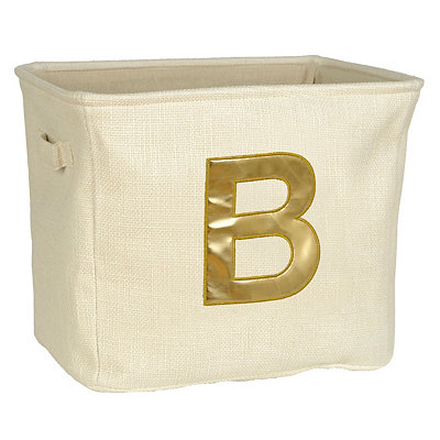 Ivory and Gold Monogram B Storage Bin