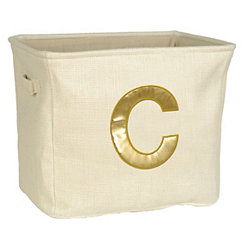 Ivory and Gold Monogram C Storage Bin