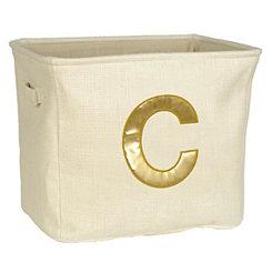 Ivory and Gold Monogram C Storage Bin