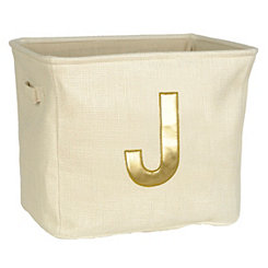 Ivory and Gold Monogram J Storage Bin