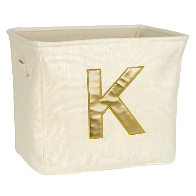 Ivory and Gold Monogram K Storage Bin