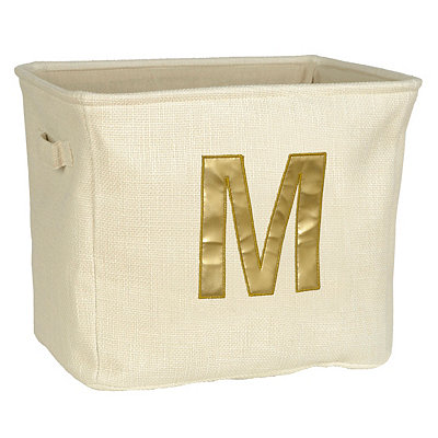 Ivory and Gold Monogram M Storage Bin
