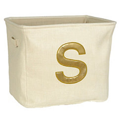 Ivory and Gold Monogram S Storage Bin