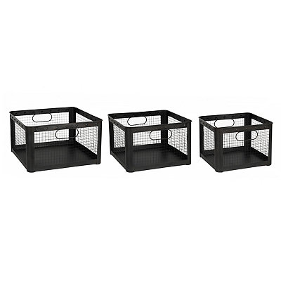 Gunmetal Wire Storage Bins, Set of 3