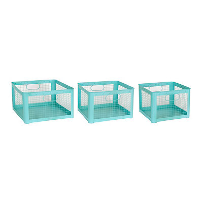 Aqua Wire Storage Bins, Set of 3