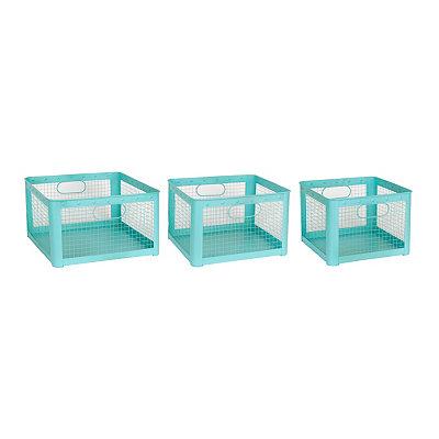 Aqua Wire Storage Bins, Set of 3