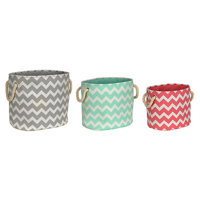 Multicolor Chevron Storage Bins, Set of 3