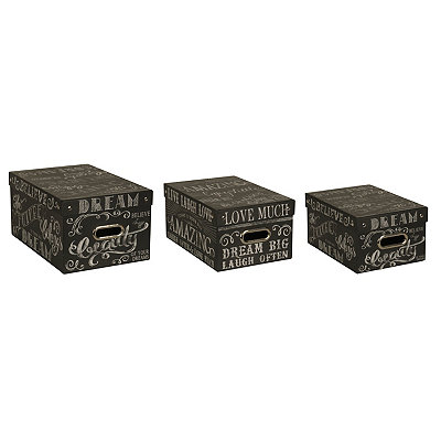Chalk Words Storage Boxes, Set of 3