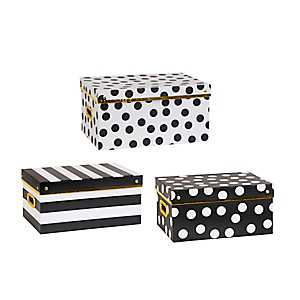 Black and White Storage Boxes, Set of 3