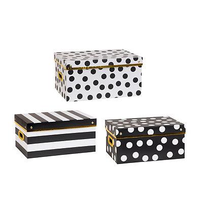 Black and White Storage Boxes, Set of 3