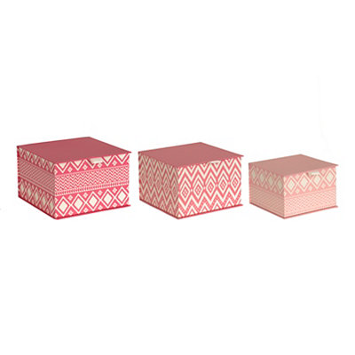 Pink Aztec Storage Boxes, Set of 3