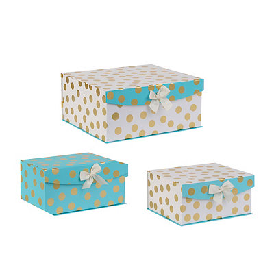 Aqua and Gold Dots Storage Boxes, Set of 3