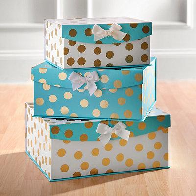 Aqua and Gold Dots Storage Boxes, Set of 3