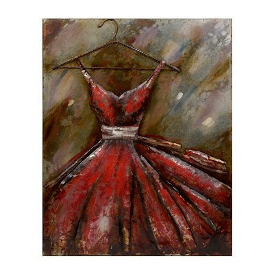 Dimensional Red Dress Metal Wall Art