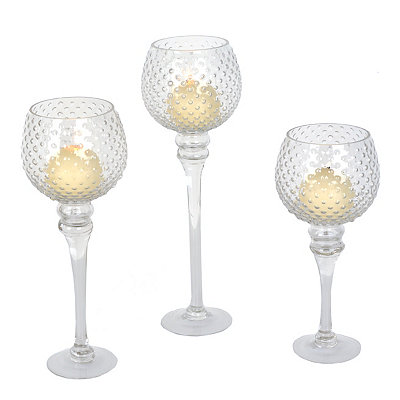 Clear Hobnail Glass Charismas, Set of 3
