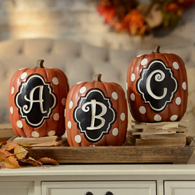 Polka Dot Monogram Pumpkin