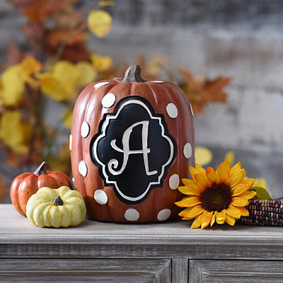 Polka Dot Monogram A Pumpkin