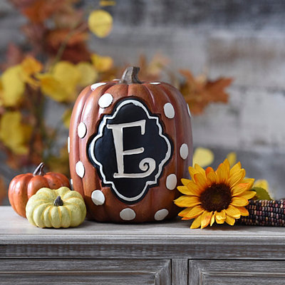 Polka Dot Monogram E Pumpkin