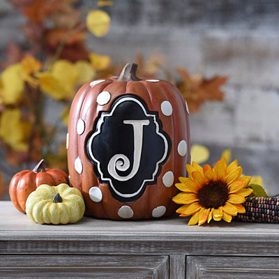 Polka Dot Monogram J Pumpkin