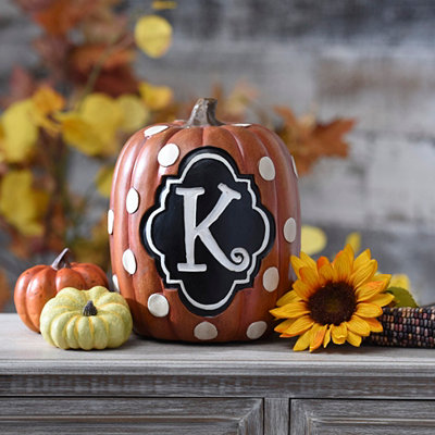 Polka Dot Monogram K Pumpkin