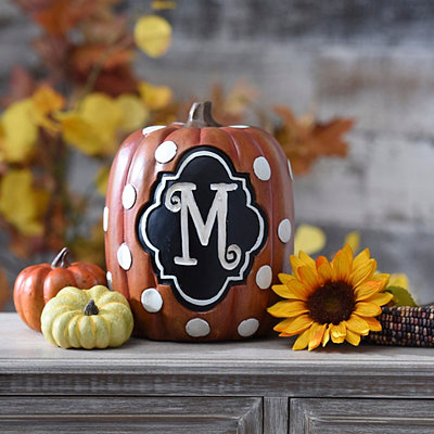 Polka Dot Monogram M Pumpkin