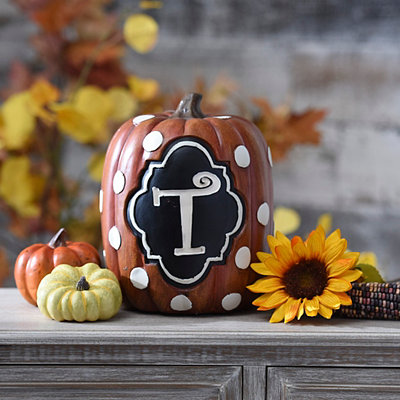 Polka Dot Monogram T Pumpkin