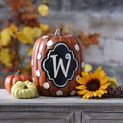 Polka Dot Monogram W Pumpkin