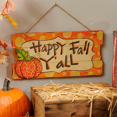 Polka Dot Happy Fall Y'all Wood Plank Plaque