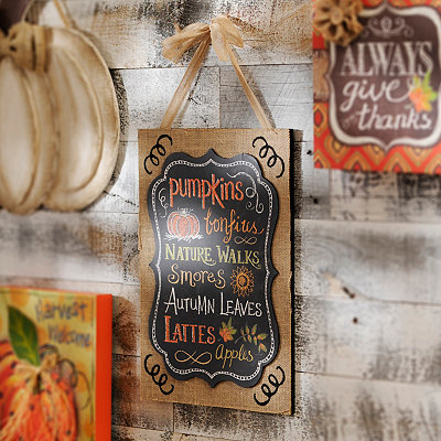 Autumn Sentiments Burlap Canvas Plaque