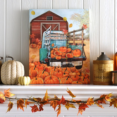 Truck in Pumpkin Patch Canvas Art Print