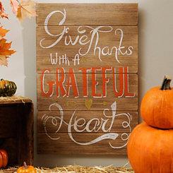 Grateful Heart Wood Plank Plaque