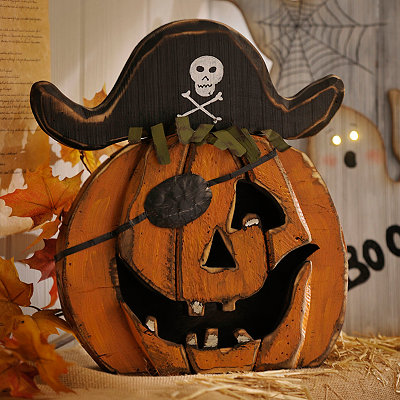 Pirate Wooden Jack O' Lantern