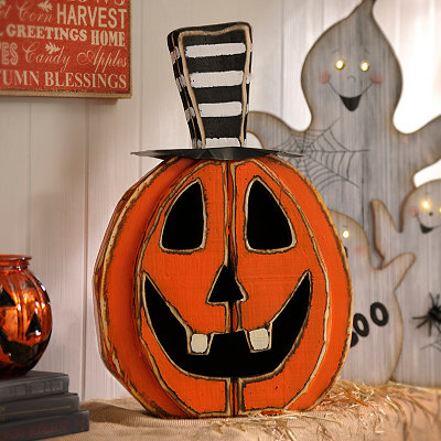 Striped Hat Wooden Jack O' Lantern