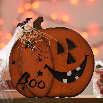 Boo Carved Wooden Jack O' Lantern