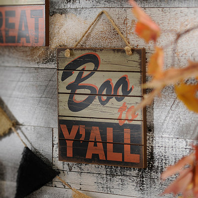 Boo to Y'all Retro Wooden Sign
