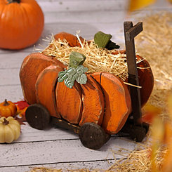 Wooden Wagon Pumpkin Planter