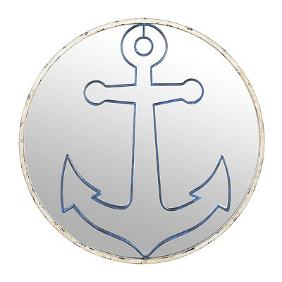 Distressed Anchor Mirror Plaque