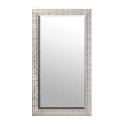 Textured Silver Framed Mirror, 38x68 in.