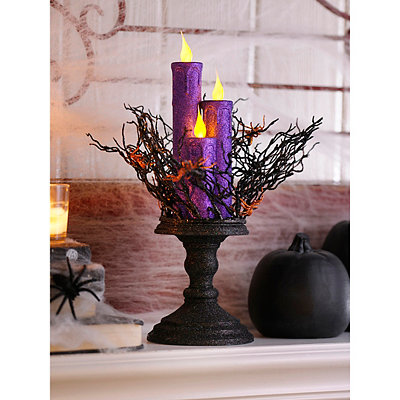 LED Purple Candles Statue
