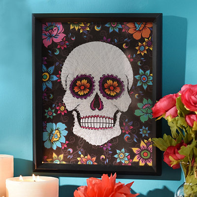 Day of the Dead Skull Framed Art Print