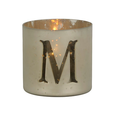 Frosted Gold Monogram Votive Holders