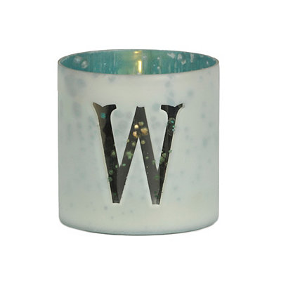Frosted Turquoise Monogram Votive Holders
