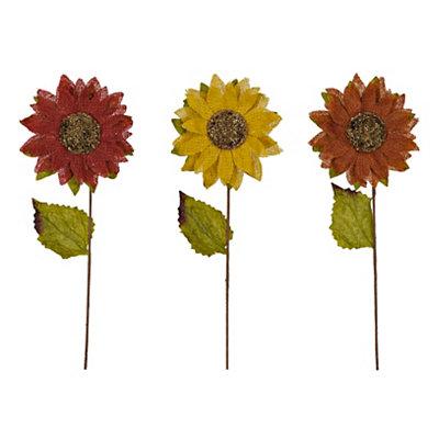Burlap Glitter Sunflower Stems