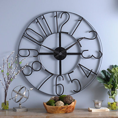 Distressed Black Open Face Clock