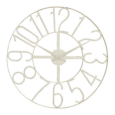 Distressed White Open Face Clock
